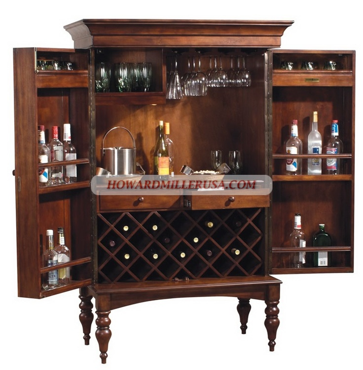 SHERRY HILL 695 014 Howard Miller Wine Bar Cabinet Furniture.A Wooden  Stemware Rack
