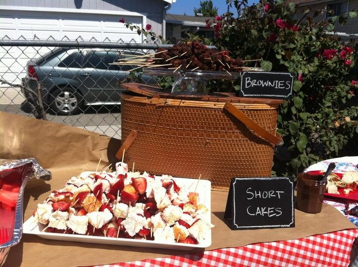 Baby Shower Picnic--Strawberry Shortcake and Brownie/Raspberry Skewers