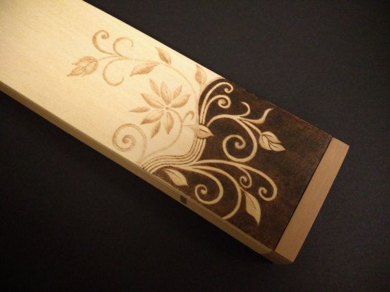 Wooden pencil box pyrography