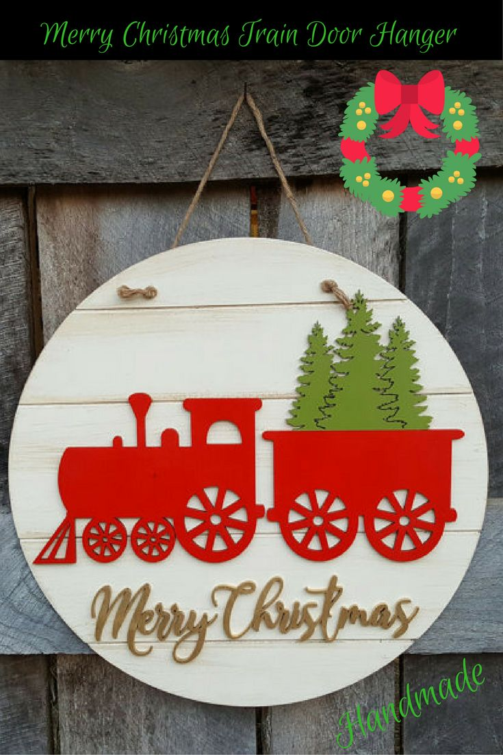 Merry Chritsmas Train Wooden Door Hanger Handmade and ready to ship.  #christmas #etsy #ad