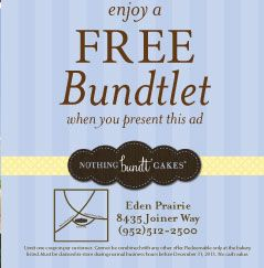 picture about Nothing Bundt Cakes Coupons Printable called Absolutely nothing bundt cakes coupon 2019