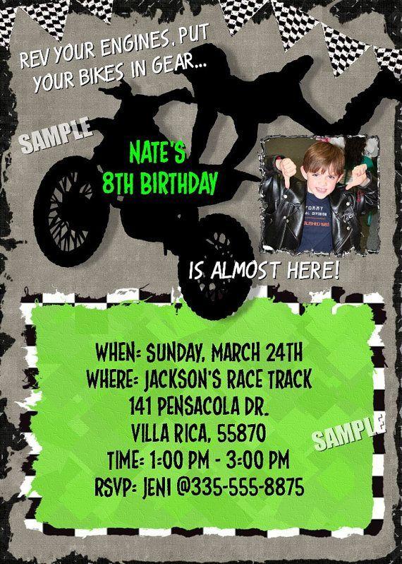 MOTOCROSS Racing Dirt Bike Photo Invitation MOTORCROSS Boys Birthday Party Theme Moto cross Personalized Motor Boy Race motorcycle