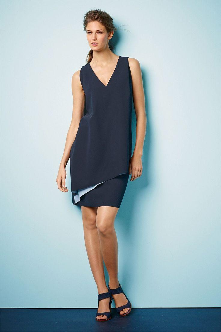 Next Bonded Navy Dress - Petite - EziBuy New Zealand