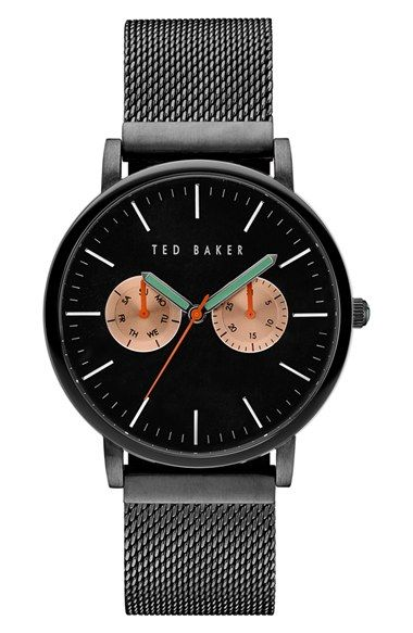 Free shipping and returns on Ted Baker London Multifunction Mesh Bracelet Watch, 40mm at Nordstrom.com. Contrasting multi-function subdials accent a sleek, mesh bracelet analog watch marked with classic bar indexes.