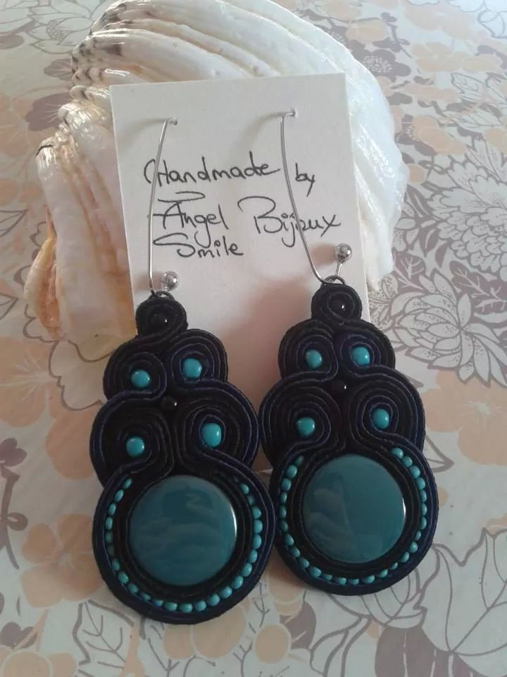 Soutache long turquoise earrings
