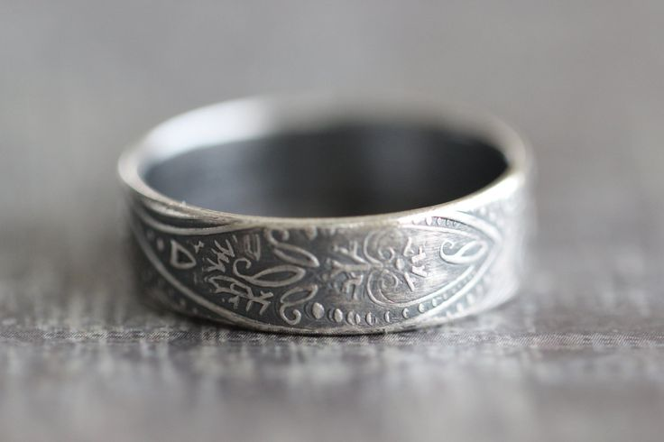 Paisley Ring, Wedding Band, PAISLEY, Mens Ring, Promise Ring, His and Hers…