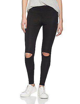 14, Black, New Look Women's Knee Slit Leggings