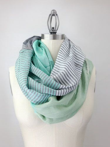 Add splash of spring to her T-shirt and jeans with a soft and flowing Mint Color Block Infinity Scarf. ($39) #mothersday