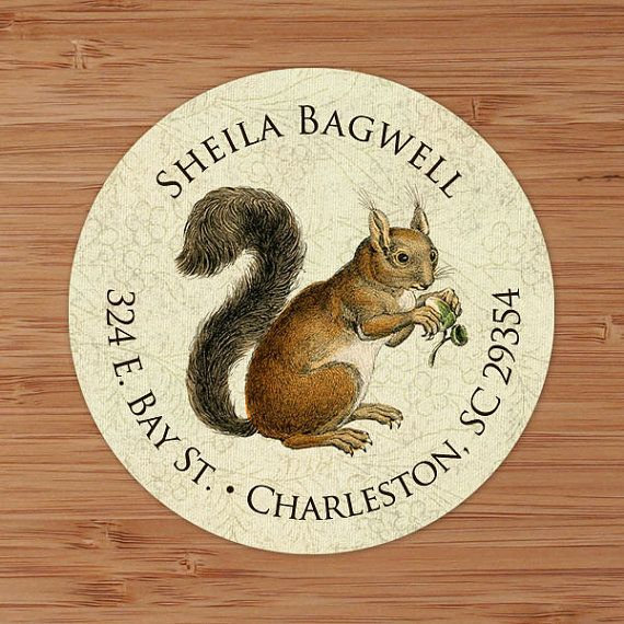 Shabby Squirrel  Custom Address Labels or Stickers PoshGirlBoutique