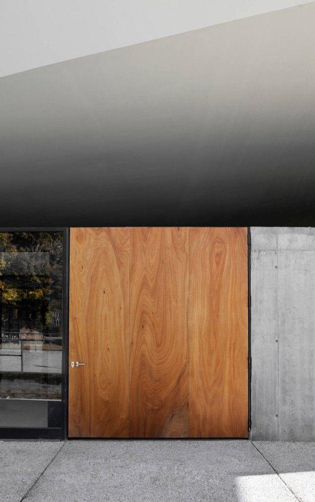 glass. wooden door. concrete.