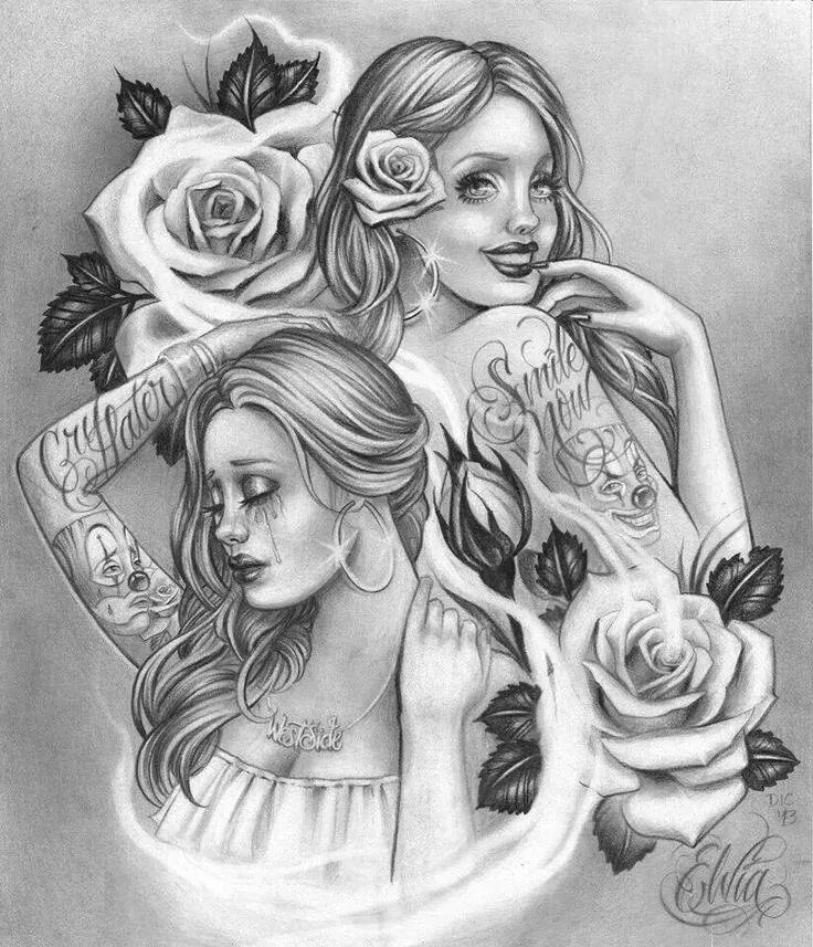 Smile now cry later right shoulder tattoo. But i want sexy beautiful big boobed chola gangster girls. Not these girls but the idea.