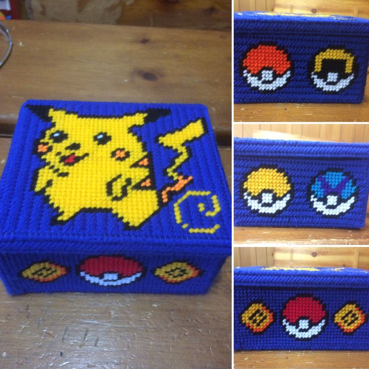 Pikachu Pokemon Box  Plastic Canvas  Plastic Canvas