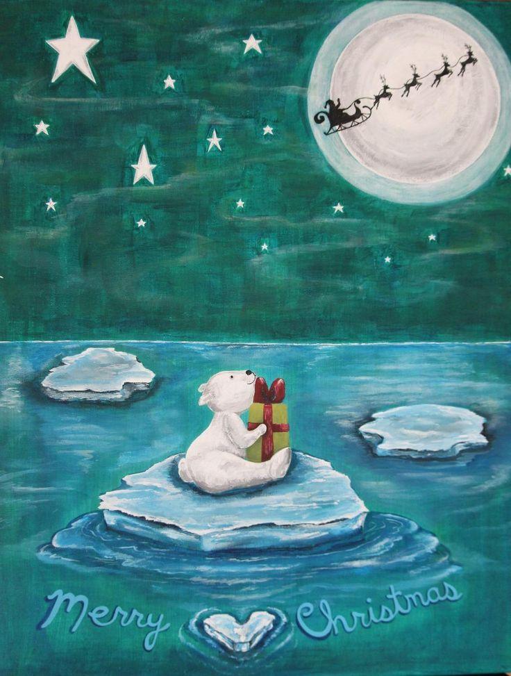 For Sale: merry christmas polar bear - acrylic on canvas, polar bear realizes Santa left him a x-mas gift amid the stars and northern lights!