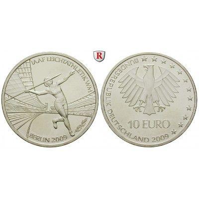 Bundesrepublik Deutschland, 10 Euro 2009, Leichtathletik WM Berlin, nach unserer Wahl, A-J, bfr., J. 542: 10 Euro 2009 nach unserer… #coins