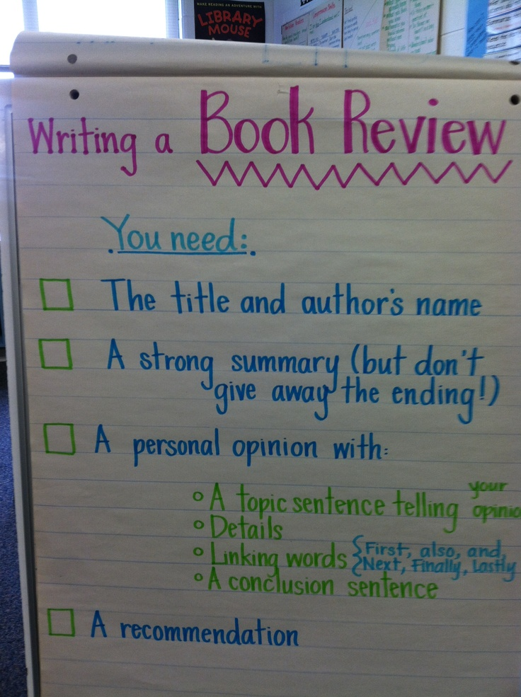Book review anchor chart Best 100 writing