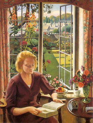"""""""Woman Reading"""", by Adrian Paul Allinson (1890-1959), 1940, Waterman Fine Art Ltd, London"""