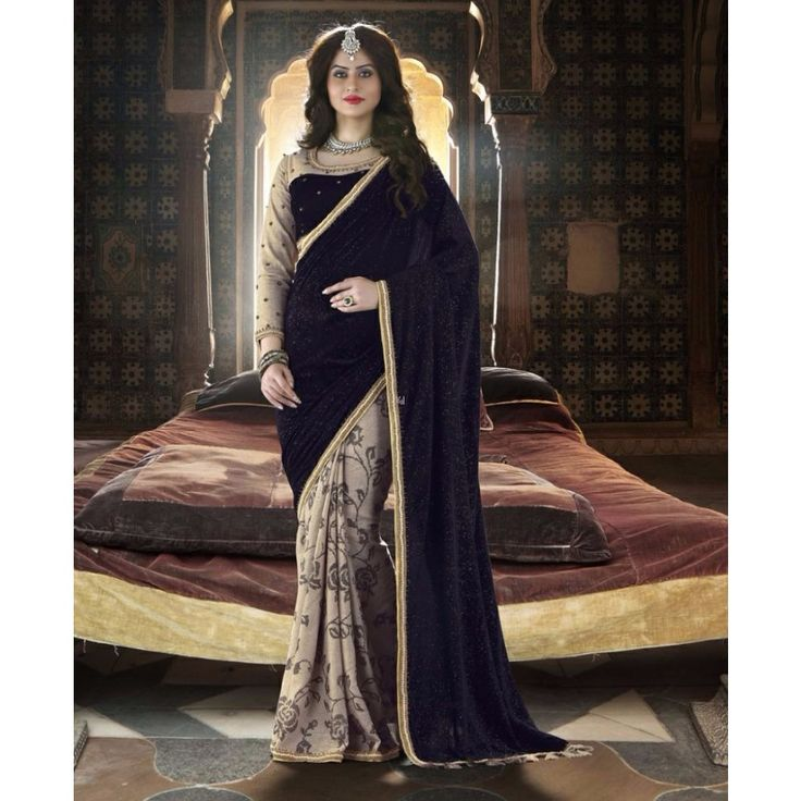 Purple and Cream Velvet Festival #Saree With Blouse- $133.01