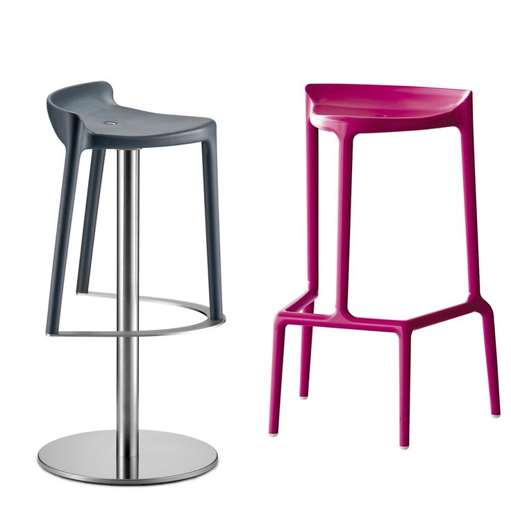 Happy Bar Stools With Brushed Stainless Steel Central Base And Automatic  Reutrn Mechanism.