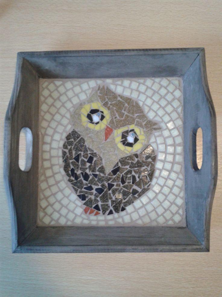 Owl tray mosaic