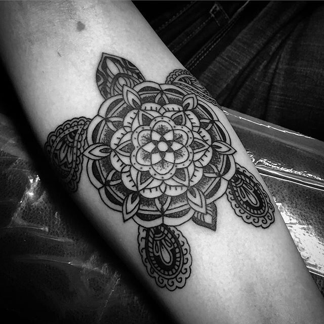 Finally got my ornamental-mandala turtle! Thank you @tattoosbynickfierro !!