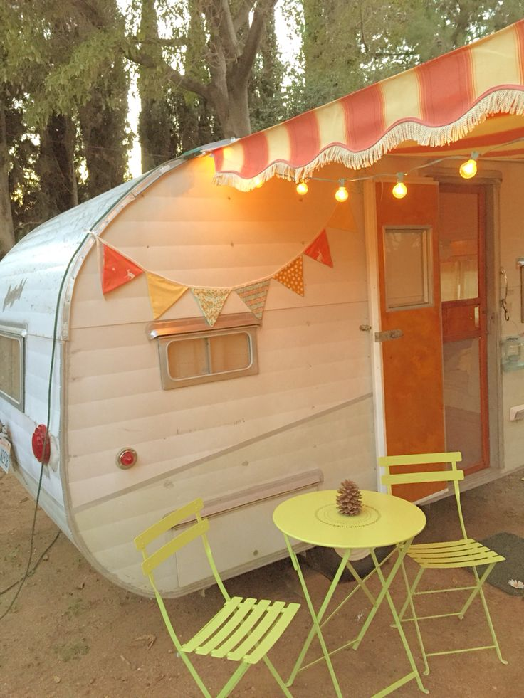 55 Hummingbird Vintage Trailer With Striped Awning