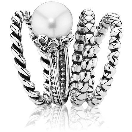 Forever Bloom w-Pearl Ring Stack