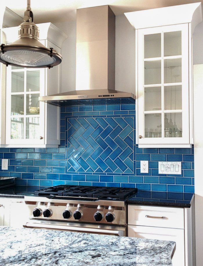 Ocean-Inspired Tile Backsplash | Calm, cool, and colorful, this herringbone Tile backsplash offers coastal allure with our ocean-inspired glaze, Cerulean. | Installation Gallery | Fireclay Tile | Tile pattern shown: Offset and Herringbone | Tile color shown: Cerulean