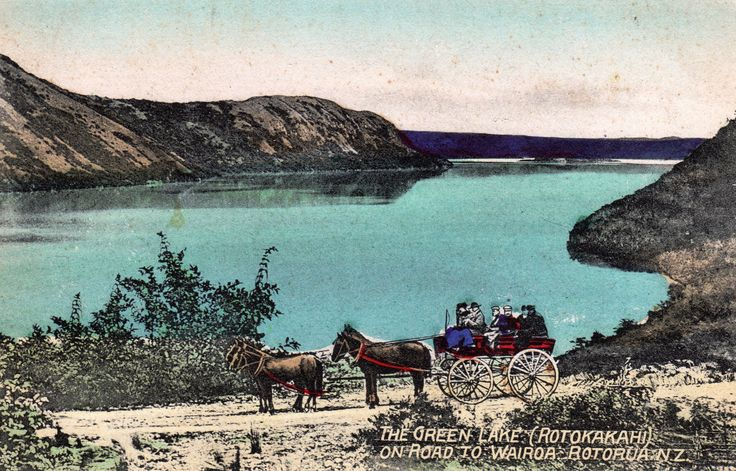 "The Green Lake (Rotokakahi), On Road to Wairoa, Rotorua, N.Z. Postcard by W. Beattie & Co., Fine Art Publishers, Auckland, N.Z. From the ""Moa Series"". Printed in Germany."