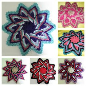 A 3D crocheted trivet in the shape of a flower can be modified in a variety of ways to suit kitchen or even a project! I'm thinking a bag, or by shrinking it, embellishing a headband.
