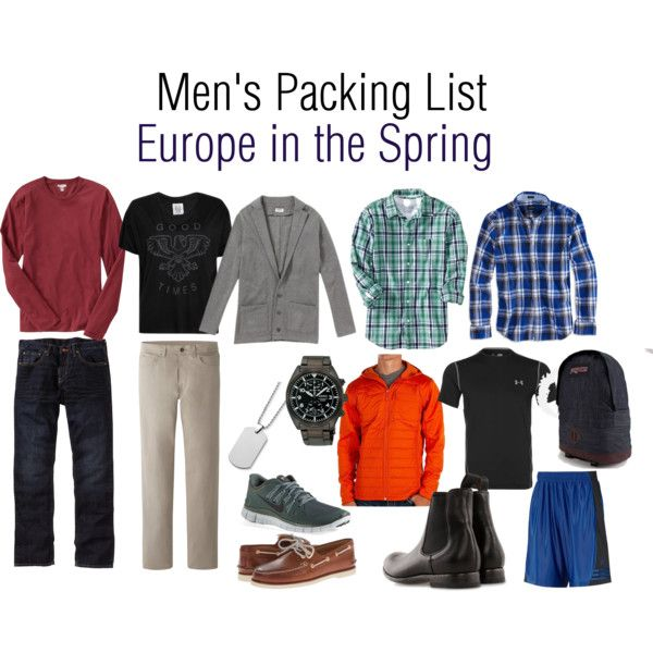 """Men's packing list - Europe in the Spring"" by stephanie-marr on Polyvore"