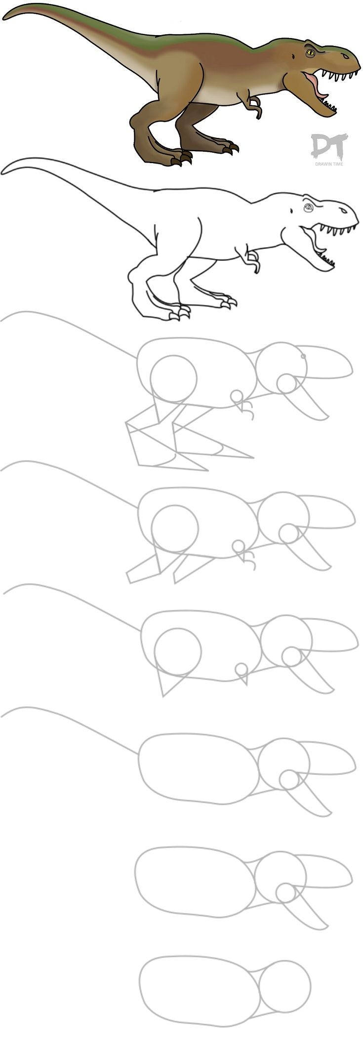 Tutorial: How To Draw A Trex Super Easy And Fun! Http: