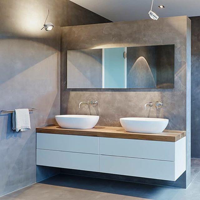 Wieder mal ein Bild von Pinterest erste frage: Zwei Waschbecken oder ein großes Waschbecken? Was ist praktischer?? Zweite Frage: Der Waschtisch – Hab