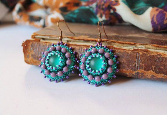 Viola verde penzolare orecchini gioielli verde viola perline orecchini vetro viola orecchini Boho orecchini perline orecchini Embroidery Bead