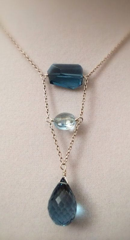 Amiee.  Faceted London Blue Topaz Nugget Necklace