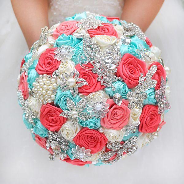 DIY broche boeket Zijde Bruid Bruidsboeket Wedding Bruidsmeisje mint turquoise & Coral ivoor Lint rozen Aanpasbare boeketten(China (Mainland))