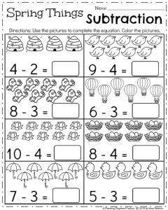 April Kindergarten Worksheets Spring Things Subtraction