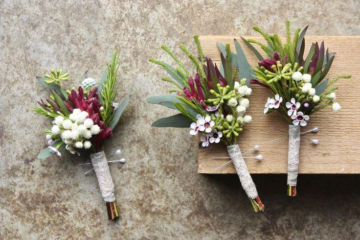 spring native boutonnieres using wax flower, leucadendron, eucalyptus buds, kangaroo paw and berzelia