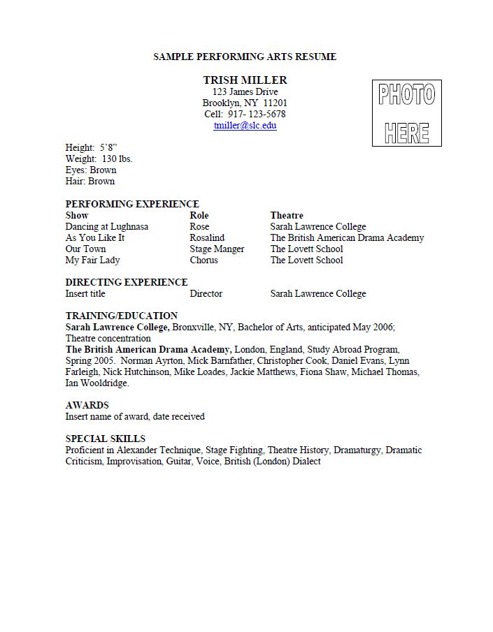 an example of a performing arts resume from sarah lawrence