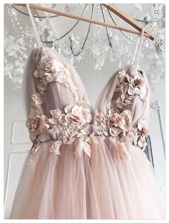 Brautkleid rosa Brautkleid Brautkleid mit offenem Rücken einfaches Kleid V-Auss…