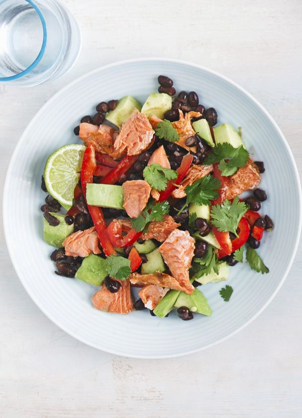 Chipotle Alaskan salmon salad: A new idea for salmon fillets. Quickly grill the fish then plate up on a healthy salad of black beans, lime and avocado for a fast midweek recipe for two.
