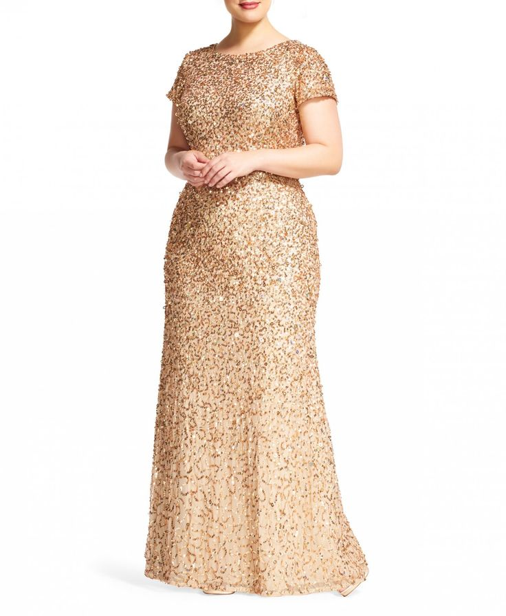 Платье - Adrianna Papell   Sequin Gown Gold+