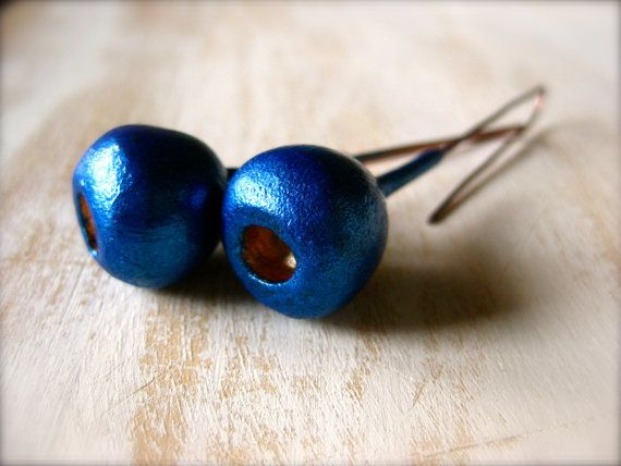 Deep Blue/Copper earring pods with Copper wire by OpiumStudios, $12.00