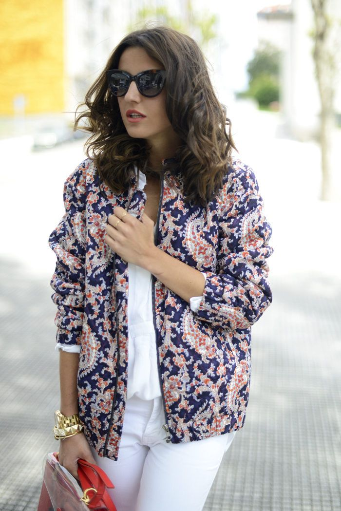 This Blue Printed Bomber jacket would look super cute with a pair of light wash jeans and a white tank top