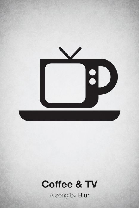 Coffee & TV by Blur. Pictogram music poster design by Viktor H.