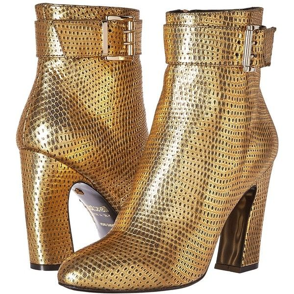 Just Cavalli Python Leather Ankle Boot (Gold) Women's Boots ($540) ❤ liked on Polyvore featuring shoes, boots, ankle booties, ankle boots, pointed toe ankle boots, short leather boots, leather boots, short boots and high heel booties