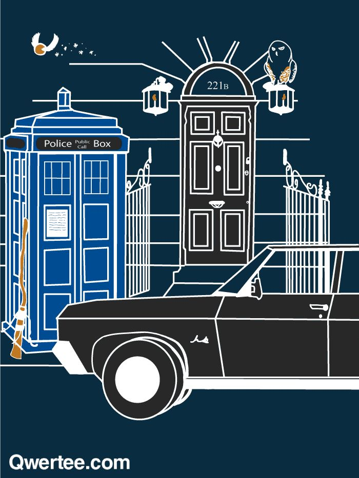 Harry, the Doctor, Sherlock, and the Winchester brothers, together on one shirt