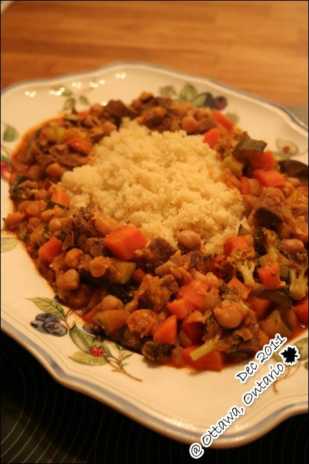 Algerian couscous with tomato sauce - good start, added turmeric, cinnamon and loads of salt, too bland as is