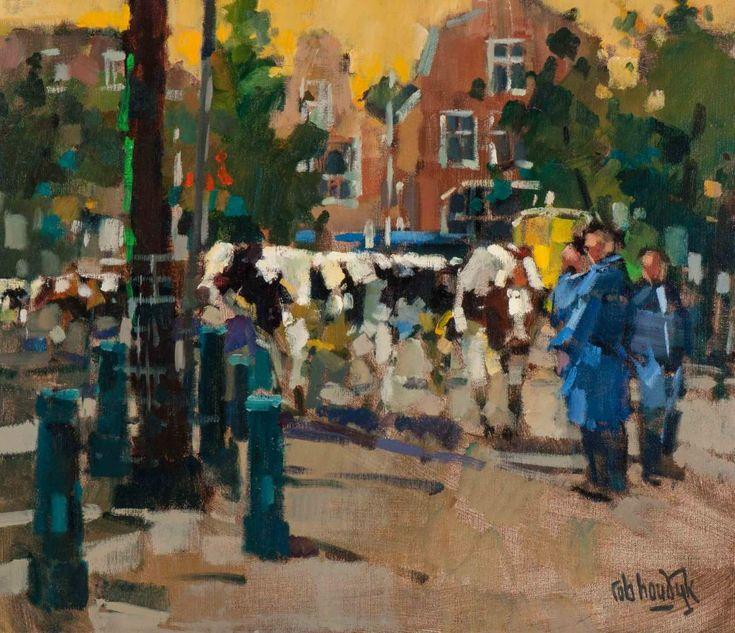 Rob Houdijk (Tilburg 1950) Cattle market in Purmerend Signed l.r. Oil on canvas, 60.2 x 70 cm