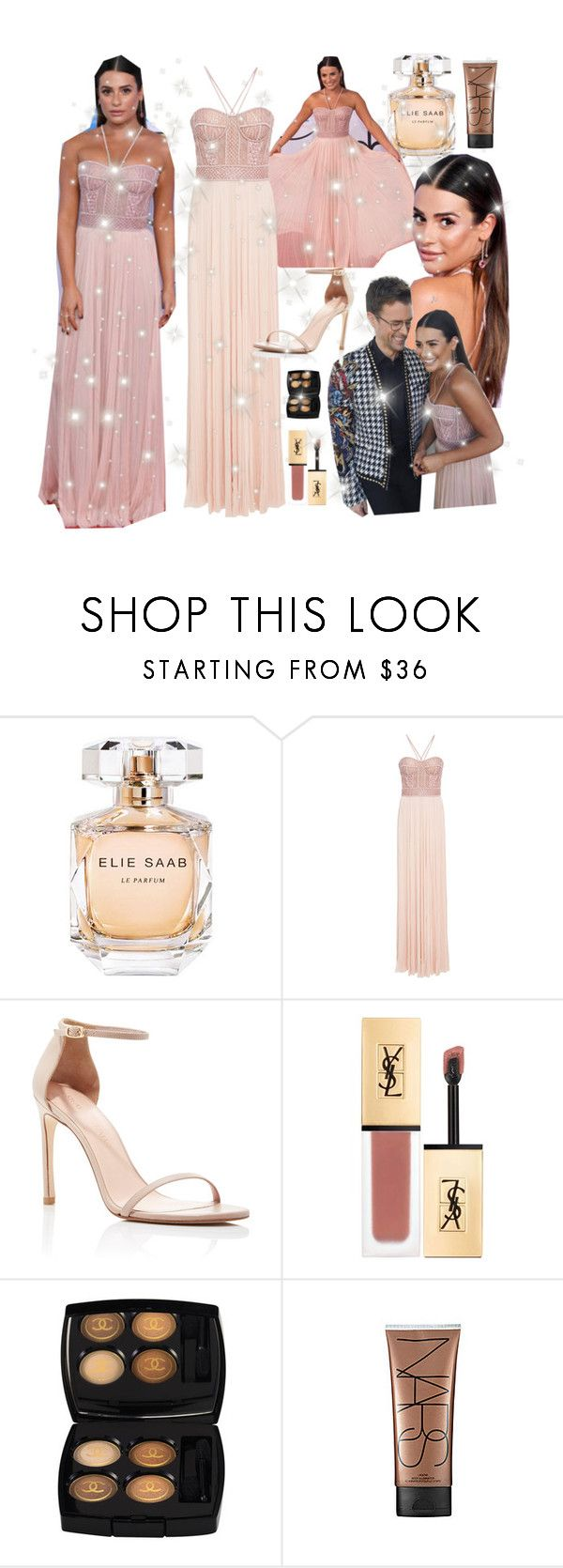 """""""Lea Michele AMAs  2017 Red carpet real look by Brad Goreski"""" by faanciella ❤ liked on Polyvore featuring Elie Saab, J. Mendel, Stuart Weitzman, Yves Saint Laurent, Chanel, NARS Cosmetics, 90s, finn, leamichele and AMAs"""