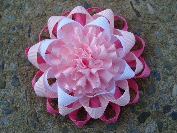Pink and White Loopy Hair  Bow Ribbon Flower Hair Bow